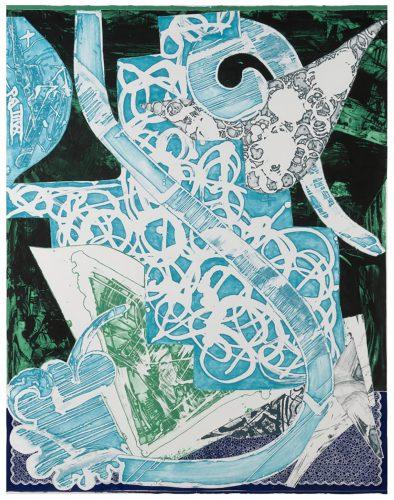 Swan Engraving Blue, Green, Grey by Frank Stella at