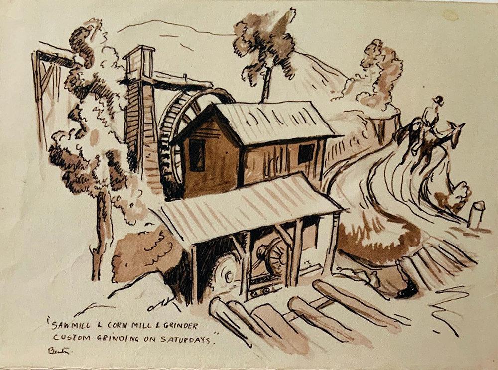 Saw Mill and Cornmeal Grinder – Custom Grinding on Saturdays by Thomas Hart Benton