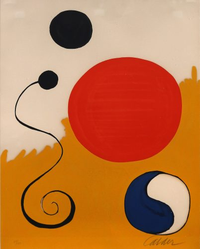 Red Sphere on Yellow Ground by Alexander Calder