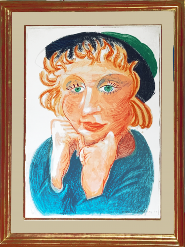 Celia with Green Hat by David Hockney